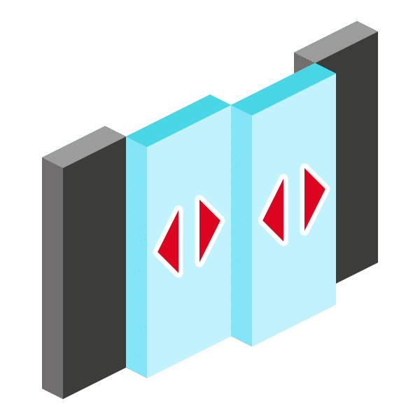 Image of bi-passing glass doors icon