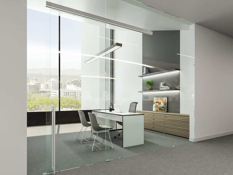 Image of Unikglass+ Air Silver Track Office Installation