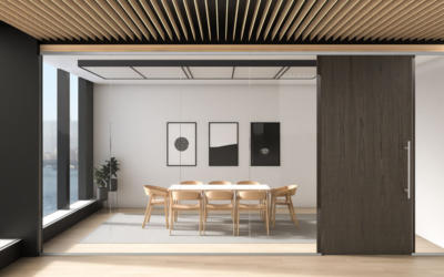 Lignea Interior Glass Wall Systems Sliver Dark Conference Room
