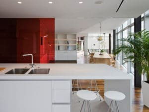 Sliding Glass Wall Partitions Privacy With Red Glass