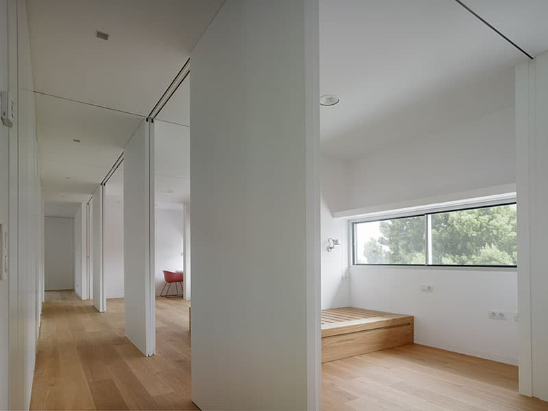 Rooms Separated by Sliding Wood Panels