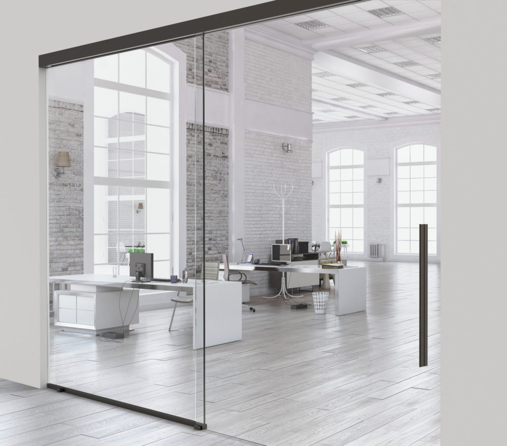 Glass partitions for large-scale panels up to 550 lbs with soft closing included